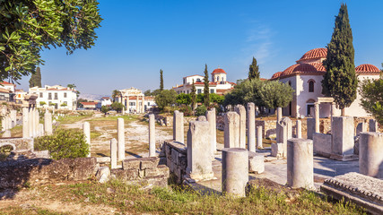 Scenic panoramic view of Roman Agora, Athens, Greece