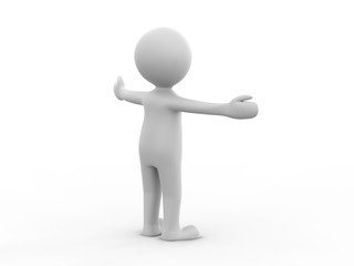 3D illustration man presenting your product hands to the side on a white background