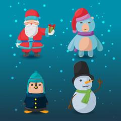 Christmas Character Cartoon Design Set Vector