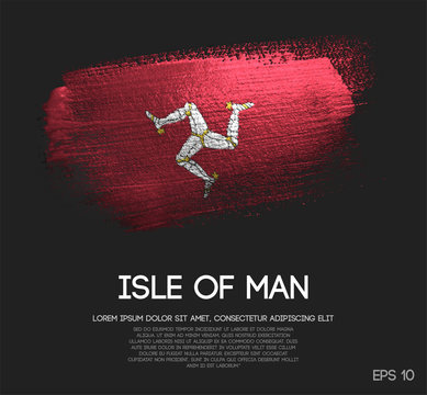 Isle of Man Flag Made of Glitter Sparkle Brush Paint Vector