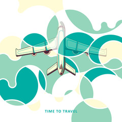 Airplane in clouds. Plane taking off. Colorful clouds. Travel. Vector illustration