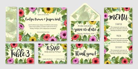 Beautiful vector watercolor wedding invitation set, envelope, table number, menu. Colored gerbera with roses and eucalyptus leaves, wax flowers