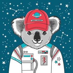 Vector illustration of astronaut koala in space uniform on stars