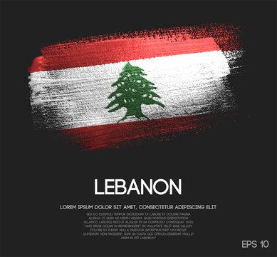 Lebanon Flag Made of Glitter Sparkle Brush Paint Vector