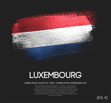 Luxembourg Flag Made of Glitter Sparkle Brush Paint Vector