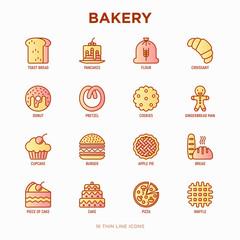 Bakery thin line icons set: toast bread, pancakes, flour, croissant, donut, pretzel, cookies, gingerbread man, cupcake, burger, apple pie, pizza, waffle. Modern vector illustration.
