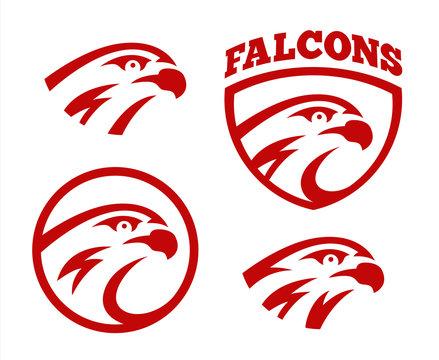 Vector falcon or hawk head sport logo mascot design set. American wild eagle abstract beak symbol sign concept.