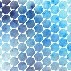 Abstract spotted hexagonal texture with blue particles. Fantasy fractal design. Digital art. 3D rendering.