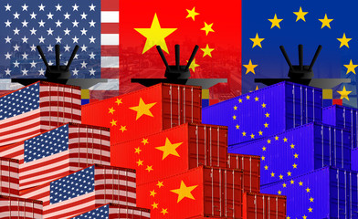 Concept image of  USA-China-EU trade war, Economy conflict, US tariffs on exports to China and EU, Trade frictions