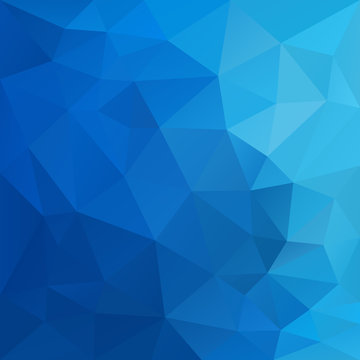 vector abstract irregular polygonal square background - triangle low poly pattern - sky blue color gradient