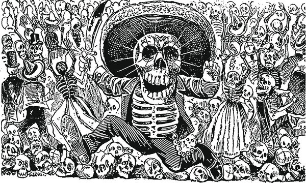 Black and White Mexican Day of The Dead Festival Illustration
