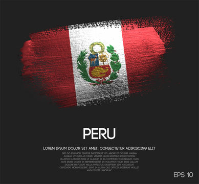 Peru Flag Made of Glitter Sparkle Brush Paint Vector