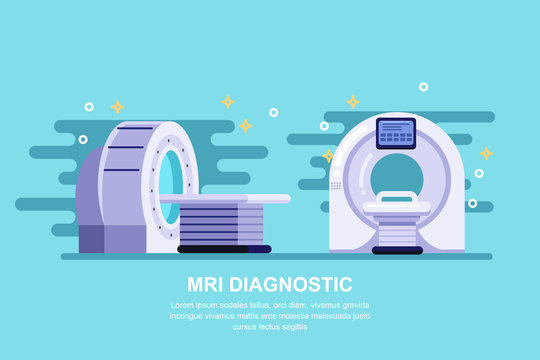 Magnetic resonance imaging scan device, vector flat illustration. Hospital medical equipment and diagnostic concept