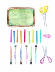 Set of school supplies. Stationery - school Board, pencil sharpener, drawing brush, scissors, colored pencils.