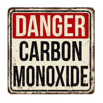 Danger carbon monoxide  vintage rusty metal sign