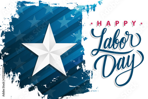 Usa Happy Labor Day Celebrate Banner With Silver Star On Brush