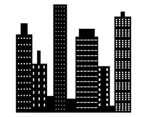 City skyscrapers pictogram vector icon