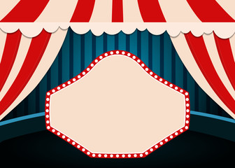 Poster Template with retro circus banner. Design for presentation, concert, show