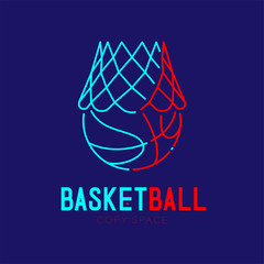 Basketball in hoop logo icon outline stroke set dash line design illustration isolated on dark blue background with basketball text and copy space