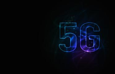 5G第5世代移動通信システムの青背景イメージイラスト