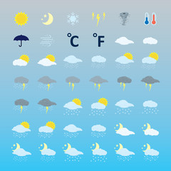 Weather icons set. Vector.
