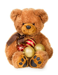 Toy teddy bear with christmas baubes
