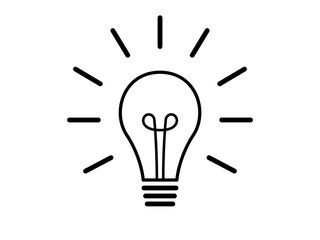 Light bulb line drawing vector