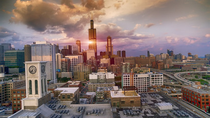 Drone Shot of Downtown Chicago