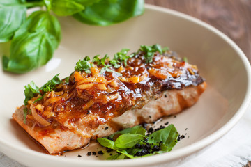 Salmon fillet glazed in ginger sauce