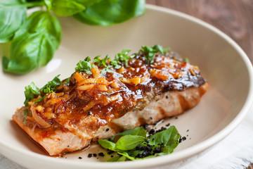 Salmon fillet glazed in ginger sauce
