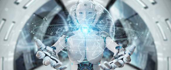 White robot woman using globe network hologram with America Usa map 3D rendering