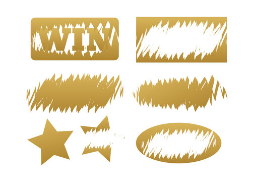Scratch cards vector. Lottery cover for scratch card