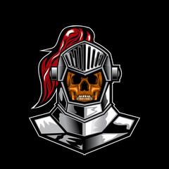 knight skull vector illustration art