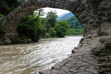 Arch bridge of queen Tamara across Adzhariszkhali river in Adjara