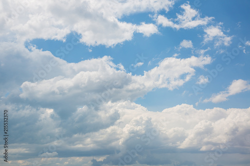 Volumetric clouds in the sky in the mountains