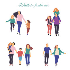Walk in fresh air. Vector stylized illustration of active young family. Healthy lifestyle.People in the park vector flat illustration.
