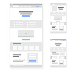 Landing page website wireframe interface template set. Vector illustration