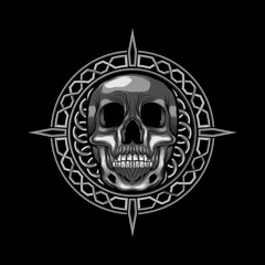Skull Head vector illustration on circle ornament art isolated