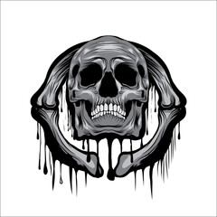 Skull Head vector illustration on circle bone ornament melt art isolated