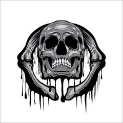 Skull Head vector illustration on circle bone ornament melt art isolated