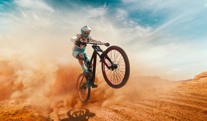 Cyclist riding a bicycle. Downhill. Fototapete