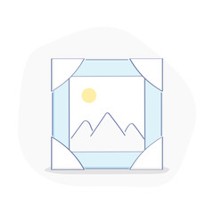 Frame with picture, photo or an image with landscape. Multimedia files, share images or photography concept, file transfer service. Flat outline ui design icon concept.