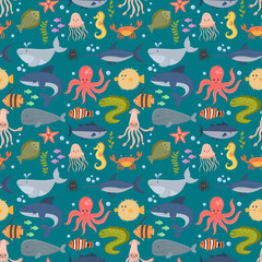 Sea animals vector creatures characters cartoon ocean wildlife marine underwater aquarium life water graphic aquatic tropical beasts seamless pattern background illustration.