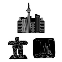 Country Canada black icons in set collection for design. Canada and landmark vector symbol stock web illustration.