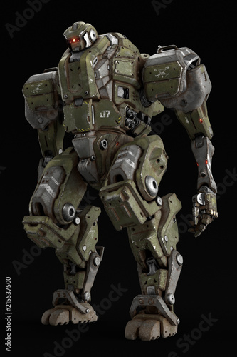 Sci Fi Mech Soldier Standing On A Black Background Military
