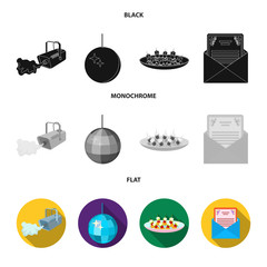A video camera with smoke, a twirling holiday ball, a plate of sandwiches, an envelope with a greeting card. Event services set collection icons in black, flat, monochrome style vector symbol stock