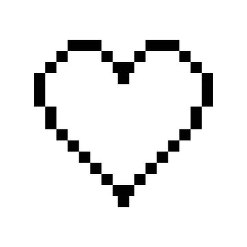 heart vector pixel icon. isolated on white background