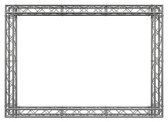Decorative frame. 3D rendering. Glossy metal spatial construction in the form of a rectangle, assembled from tubular trusses with flanges, connected with bolts and nuts. Isolated on white. Wall mural