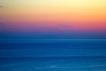 beautiful view of the sea and the sky at sunset pastel color minimalism