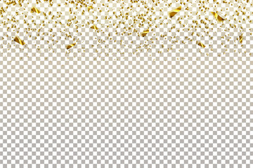 Vector realistic isolated golden confetti for decoration and covering on the transparent background. Concept of happy birthday, party and holidays.